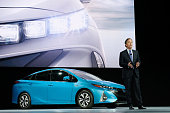 Toyota Division's Vice President and General Manager Bill Fay introduces the new model of the Prius named the Prius Prime at the New York...