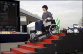 Toyota Employees Take Part In 2001 Toyota Idea Olympics 2001 At Toyota City In Japan On November 17 2001 Future wheel chair can step up and down the...
