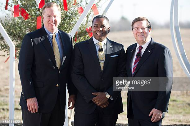 Toyota Financial Services President and CEO Mike Groff City of Plano Mayor Harry LaRosiliere and Toyota Motor North America CEO Jim Lentz pose for a...