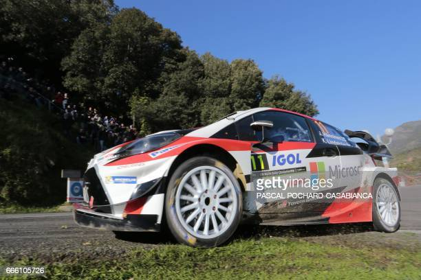 Toyota Gazoo Racing Team Finlandese driver Juho Hanninen competes during the second day of the Tour de Corse rally stage of the WRC championships on...