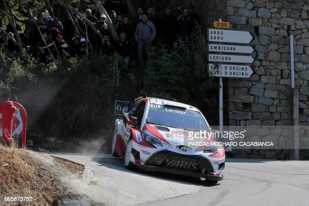 Toyota Gazoo Racing Team Finnish driver Jari Matti Latvala competes during the first day of the Tour de Corse rally stage of the WRC championships on...
