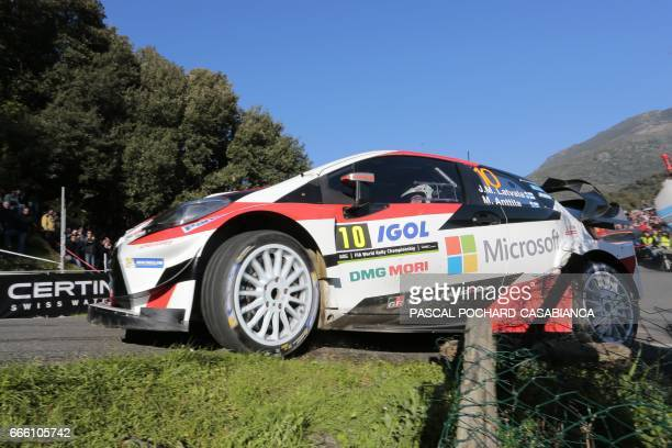 Toyota Gazoo Racing Team Finnish driver Jari Matti Latvala competes during the second day of the Tour de Corse rally stage of the WRC championships...