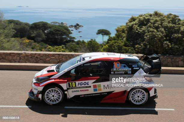 Toyota Gazoo Racing Team Finnish driver Jari Matti Latvala competes in the power stage of the Tour de Corse rally stage of the WRC championships on...