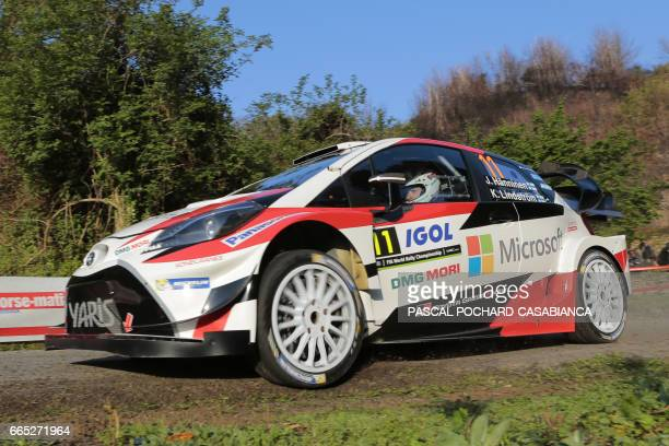 Toyota Gazoo Racing Team's Finnish pilot Juho Hanninen and Finnish copilot Kaj Lindstrom compete during the shakedown of the Tour de Corse rally...