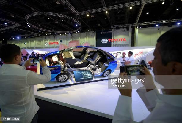 Toyota hybrid technology is seen during Dubai Motor Show at Dubai World Trade Centre on November 15 2017 in Dubai United Arab Emirates