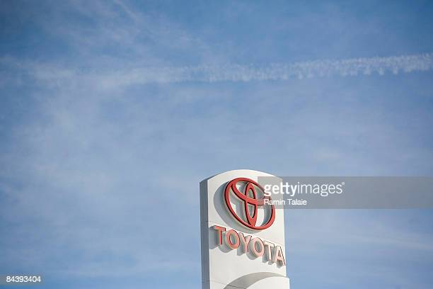 Toyota logo sign stands at a car dealership in the Long Island City neighborhood of the Queens borough of New York City on January 21 2009 Toyota has...