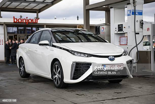 A Toyota Mirai hydrogen car is pictured during a photo option on the occasion of the CleanEnergyPartnership following a FrancoGerman InterMinisterial...