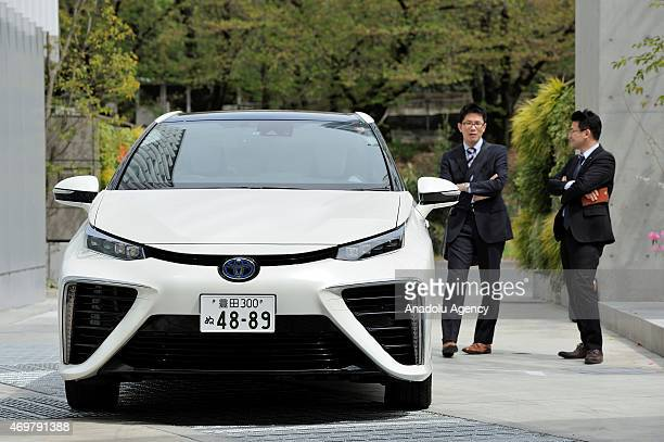 Toyota Mirai Hydrogen FuelCell Sedan car is seen on April 15 2015 Toyota will open a showroom to serve information about its Toyota Mirai and fuel...