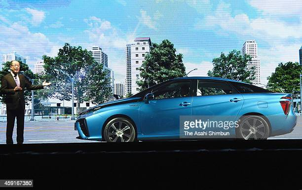 Toyota Motor Co Deputy Chief Engineer Yoshikazu Tanaka introuces the new hydrogen fuel cell vehicle 'Mirai' during its launching on November 18 2014...