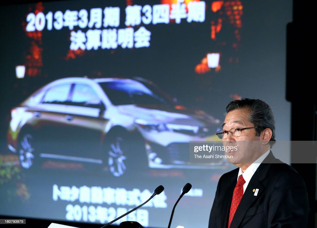 Toyota Motor Co., managing director Takahiro Ijichi speaks during a press conference at their Tokyo headquarters on February 5, 2013 in Tokyo, Japan. Toyota revised their profit forecast, weakened Japanese Yen raising the value of overseas sales.