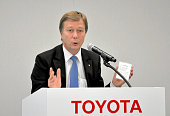 Toyota Motor Co new Executive Vice President Didier Leroy speaks during his appointment press conference at the company headquarters on June 17 2015...