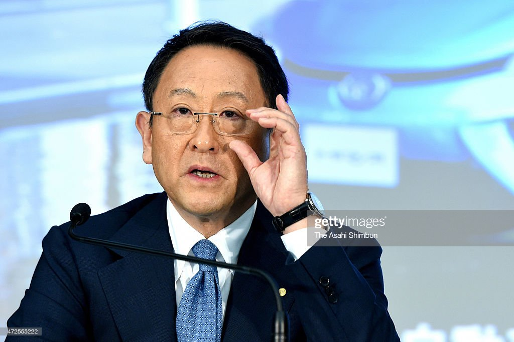 Toyota Motor Co President <a gi-track='captionPersonalityLinkClicked' href=/galleries/search?phrase=Akio+Toyoda&family=editorial&specificpeople=2334399 ng-click='$event.stopPropagation()'>Akio Toyoda</a> adjusts his glasses during the press conference announcing the fiscal 2014 financial result at Toyota's Tokyo headquarters on May 8, 2015 in Tokyo, Japan. Japan's auto giant reported 2.17 trillion Japanese yen (18.1 billion U.S. dollars) profit.