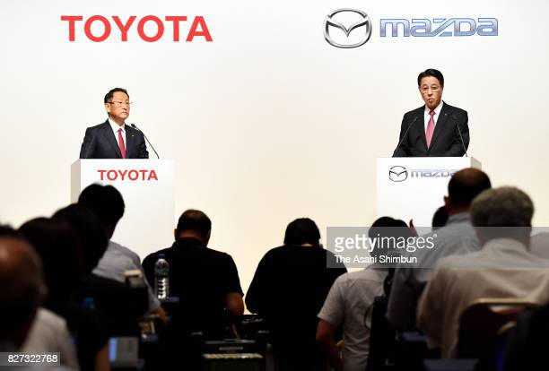 Toyota Motor Co President Akio Toyoda and Mazda Motor Co President and CEO Masamichi Kogai attend at a joint press conference on August 4 2017 in...