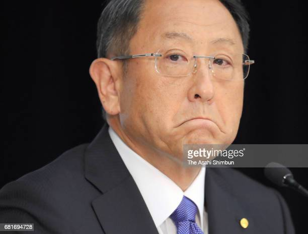 Toyota Motor Co President Akio Toyoda attends a press conference announcing the fourthquarter financial result at the company's Tokyo headquarters on...