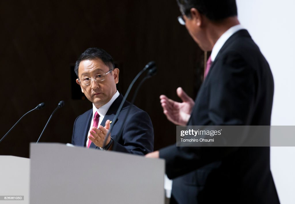 Toyota Motor Co. President Akio Toyoda, left, and Mazda Motor Co. President and CEO Masamichi Kogai attend a joint press conference on August 4, 2017 in Tokyo, Japan. Toyota and Mazda announced a partnership establishing a joint venture to produce vehicles in the United States and develop technologies for electric vehicles.