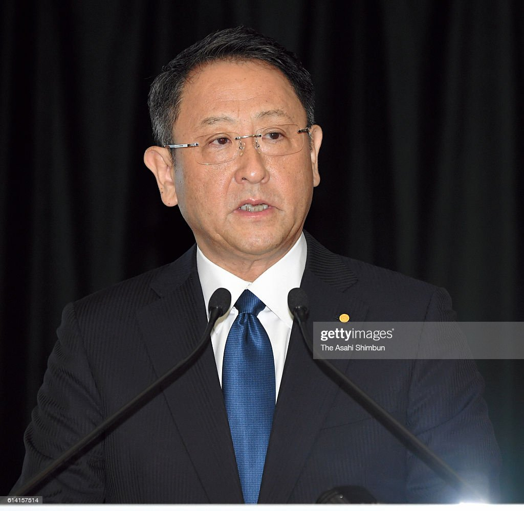 Toyota Motor Co President Akio Toyoda speaks during a joint press conference at the Toyota's Tokyo headquarters on October 12, 2016 in Tokyo, Japan. Automakers are in discussion on business partnership in the environment, safety, and information technology fields.