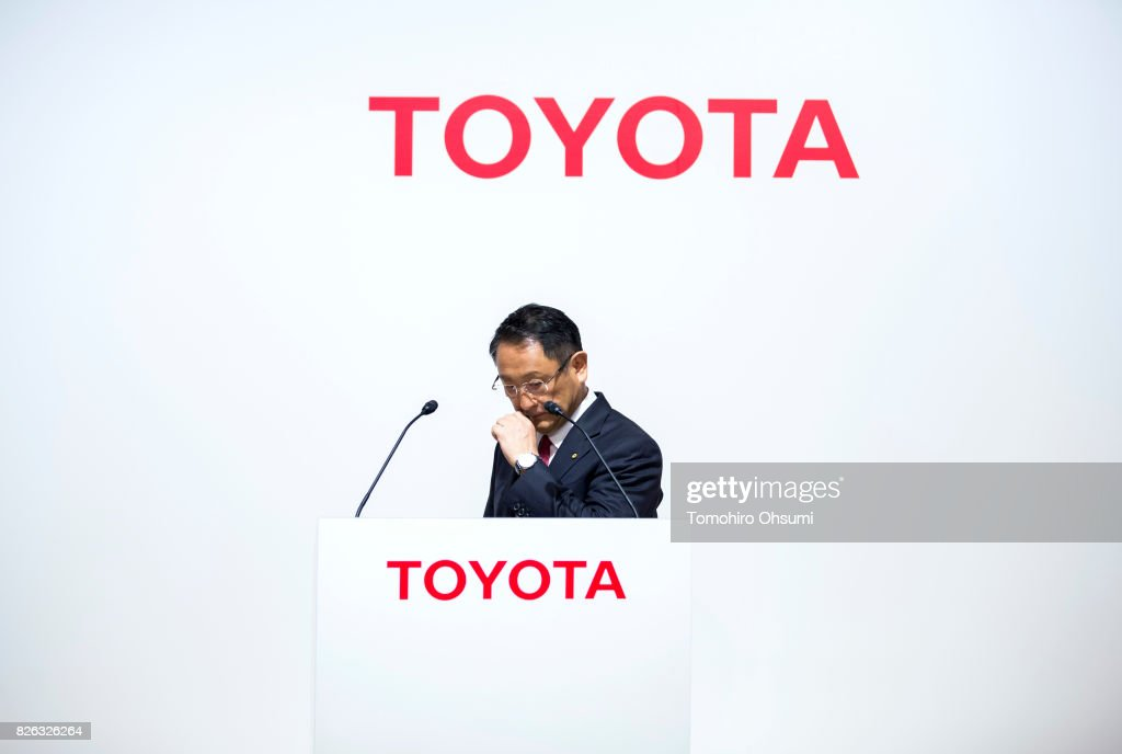 Toyota Motor Co. President Akio Toyoda walks to a podium during a joint press conference with Mazda Motor Co. President and CEO Masamichi Kogai, not pictured, on August 4, 2017 in Tokyo, Japan. Toyota and Mazda announced to form a partnership establishing a joint venture that produce vehicles in the United States and jointly developing technologies for electric vehicles.