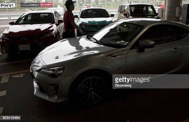 A Toyota Motor Corp 86 sports coupe stands parked during a test drive at the Toyota Mega Web showroom in Tokyo Japan on Tuesday Aug 1 2017 Toyota is...