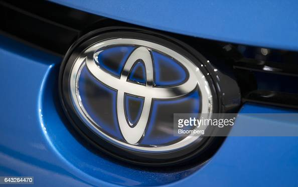 A Toyota Motor Corp badge is seen on the Mirai fuelcell vehicle displayed in the company's showroom in Toyota City Aichi Japan on Thursday Oct 13...