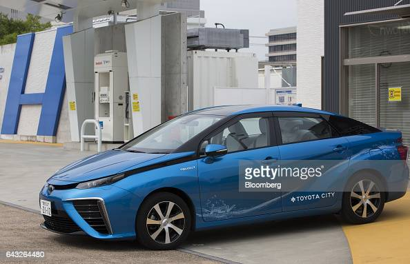 A Toyota Motor Corp Mirai fuelcell vehicle sits parked at the hydrogen filling station in Toyota's Ecoful Town in Toyota City Aichi Japan on Friday...