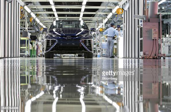 A Toyota Motor Corp Mirai fuelcell vehicle stands in the inspection area on the production line of the company's Motomachi plant in Toyota City Aichi...