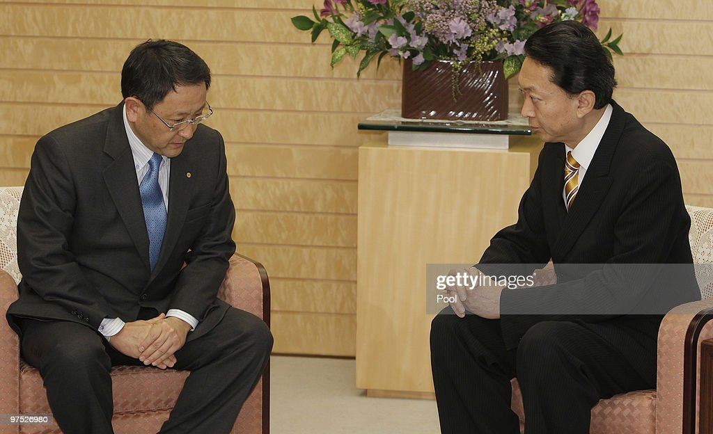 Toyota Motor Corp. President Akio Toyoda (L) talks with Japanese Prime Minister Yukio Hatoyama at Hatoyama's official residence, on March 8, 2010 in Tokyo, Japan. Toyoda briefed Hatoyama on Toyota's plans to improve quality control after a series of safety concerns and a major vehicle recall.