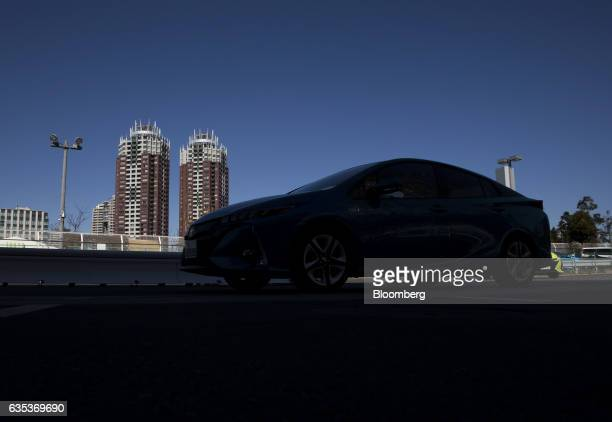 A Toyota Motor Corp Prius plugin hybrid vehicle known as Prius Prime in US sits parked during a test drive ahead of its sales launch outside the...