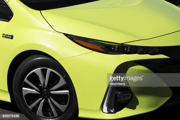 A Toyota Motor Corp Prius plugin hybrid vehicle known as Prius Prime in the US is seen during a test drive ahead of its sales launch outside the...