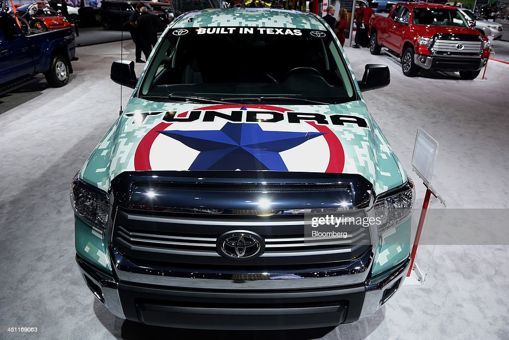 A Toyota Motor Corp. Tacoma truck is displayed during the LA Auto Show in Los Angeles, California, U.S., on Thursday, Nov. 21, 2013. Toyota Motor Corp.'s top North American executive said the carmaker hasn't decided to end a production deal that supplies it with 100,000 Camry sedans annually from Fuji Heavy Industries Ltd.'s U.S. Subaru plant. Photographer: Jonathan Alcorn/Bloomberg via Getty Images