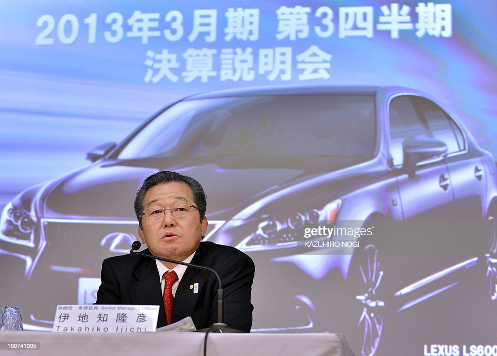 Toyota Motor Corporation director and senior managing officier Takahiko Ijichi answers questions during a press briefing to announce the company's third-quarter (October-December 2012) financial results in Tokyo on February 5, 2013. Toyota said on February 5 that its net profit quadrupled in the nine months to December, underscoring its post-disaster recovery, as Japan's biggest automaker also upped its full-year earnings outlook.