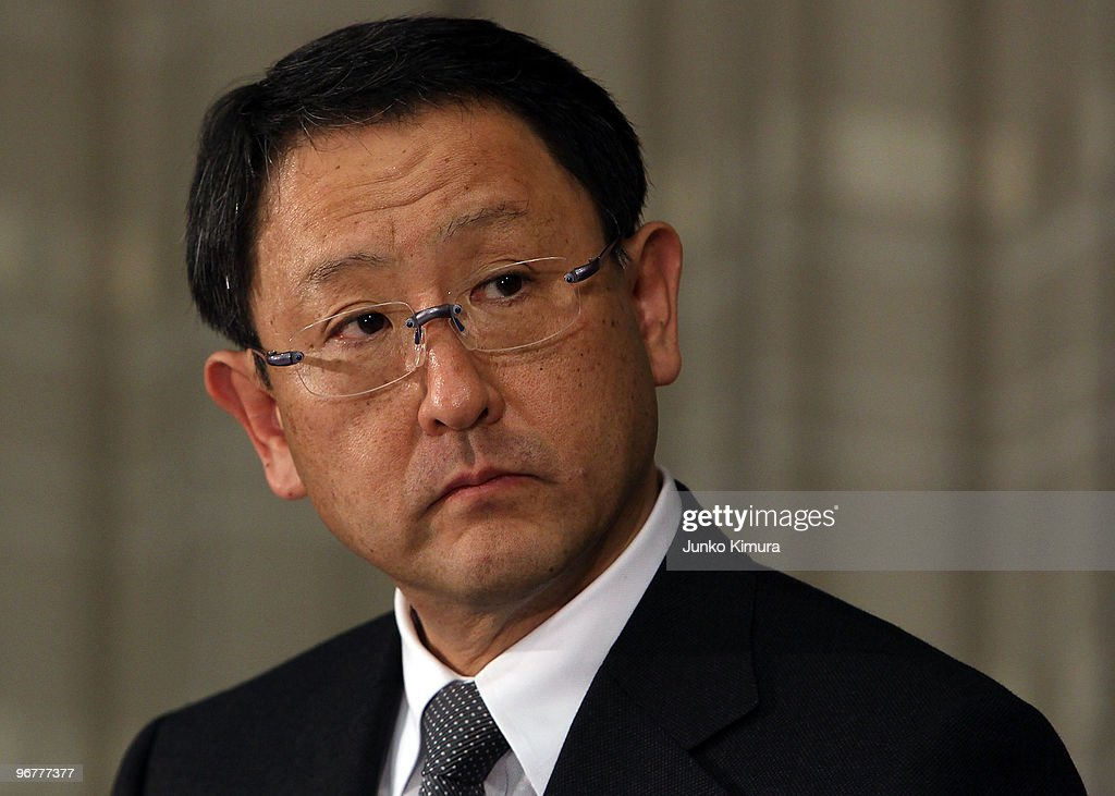 Toyota Motor Corporation President Akio Toyoda attends a press conference at their Tokyo headquarters on February 17, 2010 in Tokyo, Japan. Toyota promised a brake-override system in all future models worldwide, also will set up third-party research organization to test its electronic throttle control system.