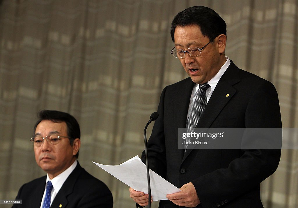 Toyota Motor Corporation President Akio Toyoda (R) speaks beside Executive Vice President Shinichi Sasaki during a press conference at their Tokyo headquarters on February 17, 2010 in Tokyo, Japan. Toyota promised a brake-override system in all future models worldwide, also will set up third-party research organization to test its electronic throttle control system.