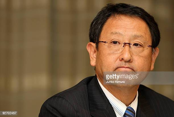 Toyota Motor Corporation President Akio Toyoda speaks during a press conference at Toyota's head office on November 4 2009 in Tokyo Japan Toyota...