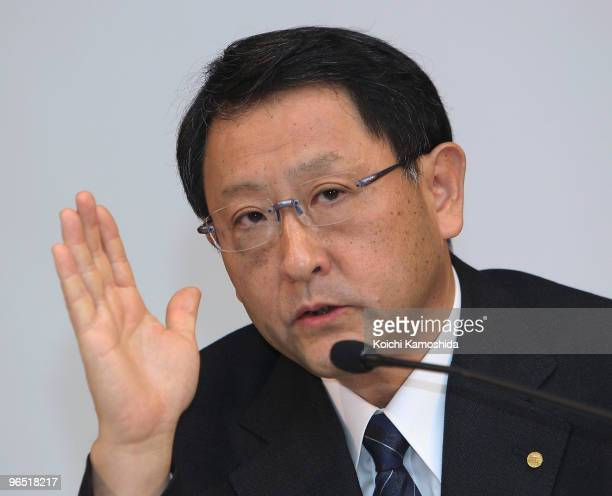 Toyota Motor Corporation President Akio Toyoda speaks during a press conference after informing the Transport Ministry of the Prius recall at their...