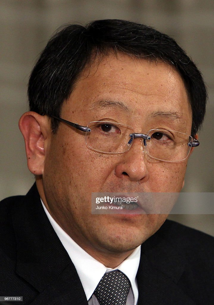 Toyota Motor Corporation President <a gi-track='captionPersonalityLinkClicked' href=/galleries/search?phrase=Akio+Toyoda&family=editorial&specificpeople=2334399 ng-click='$event.stopPropagation()'>Akio Toyoda</a> speaks during a press conference at their Tokyo headquarters on February 17, 2010 in Tokyo, Japan. Toyota promised a brake-override system in all future models worldwide, also will set up third-party research organization to test its electronic throttle control system.