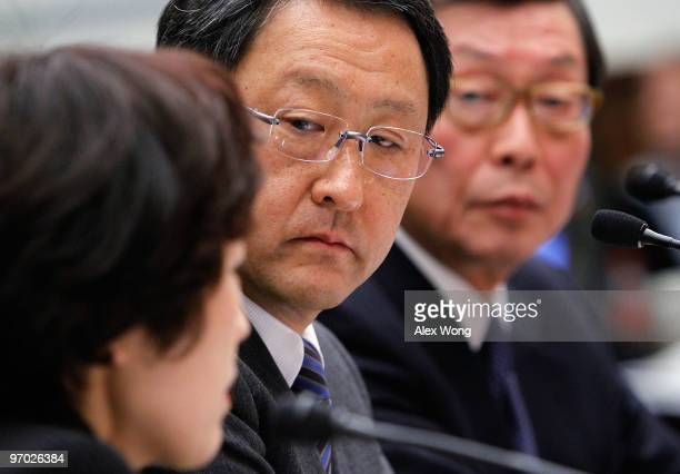 Toyota Motor Corporation President and CEO Akio Toyoda and Toyota Motor North Ameica CEO Yoshiumi Inaba listens to an interpreter while testifying...