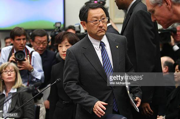 Toyota Motor Corporation President and CEO Akio Toyoda arrives for testimony before the House Oversight and Government Reform Committee hearing on...