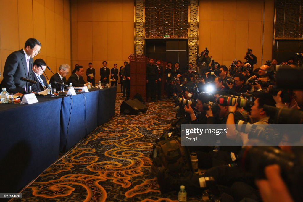Toyota Motor Corporation President and CEO Akio Toyoda bows to offer a sincere apology during a news conference on March 1, 2010 in Beijing, China. Toyoda issued an apology to Chinese customers following a series of safety issues.