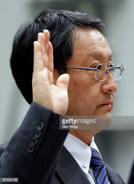 Toyota Motor Corporation President and CEO Akio Toyoda is sworn in before the House Oversight and Government Reform Committee hearing on Capitol Hill...