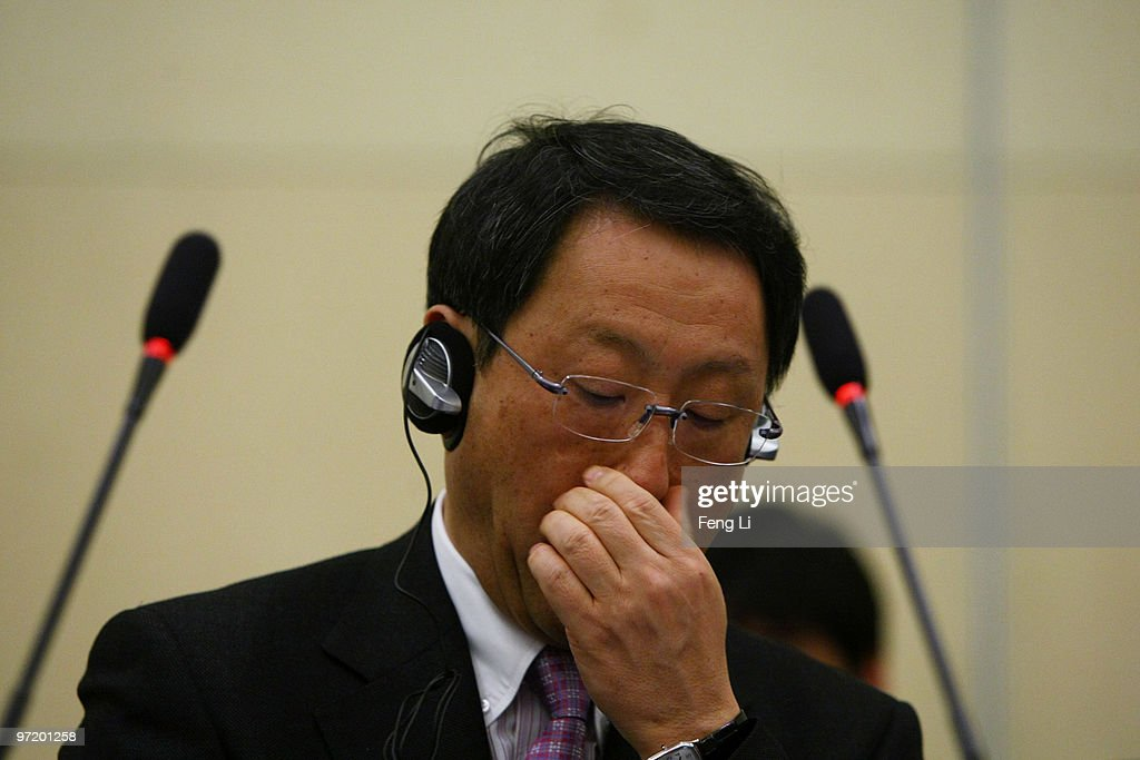 Toyota Motor Corporation President and CEO Akio Toyoda speak to offer a sincere apology during a news conference on March 1, 2010 in Beijing, China. Toyoda issued an apology to Chinese customers following a series of safety issues.