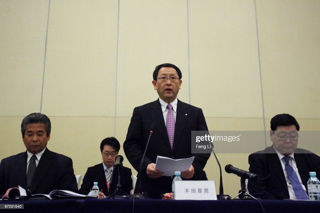 Toyota Motor Corporation President and CEO <a gi-track='captionPersonalityLinkClicked' href=/galleries/search?phrase=Akio+Toyoda&family=editorial&specificpeople=2334399 ng-click='$event.stopPropagation()'>Akio Toyoda</a> speaks to offer a sincere apology during a news conference on March 1, 2010 in Beijing, China. Toyoda issued an apology to Chinese customers following a series of safety issues.
