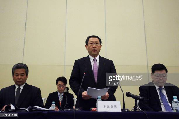 Toyota Motor Corporation President and CEO Akio Toyoda speaks to offer a sincere apology during a news conference on March 1 2010 in Beijing China...