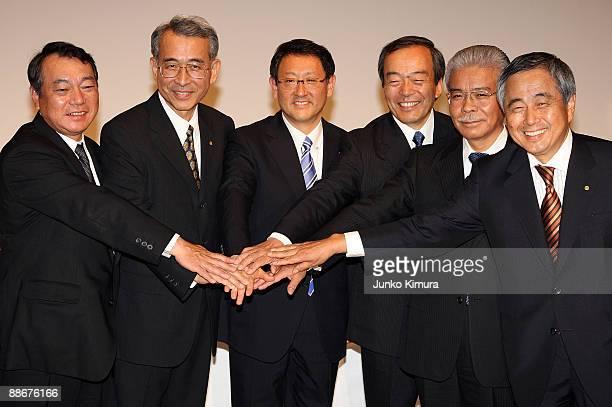 Toyota Motor Corporation's newly announced top management team Executive Vice Presidents Shinichi Sasaki Yukitoshi Funo President Akio Toyoda...