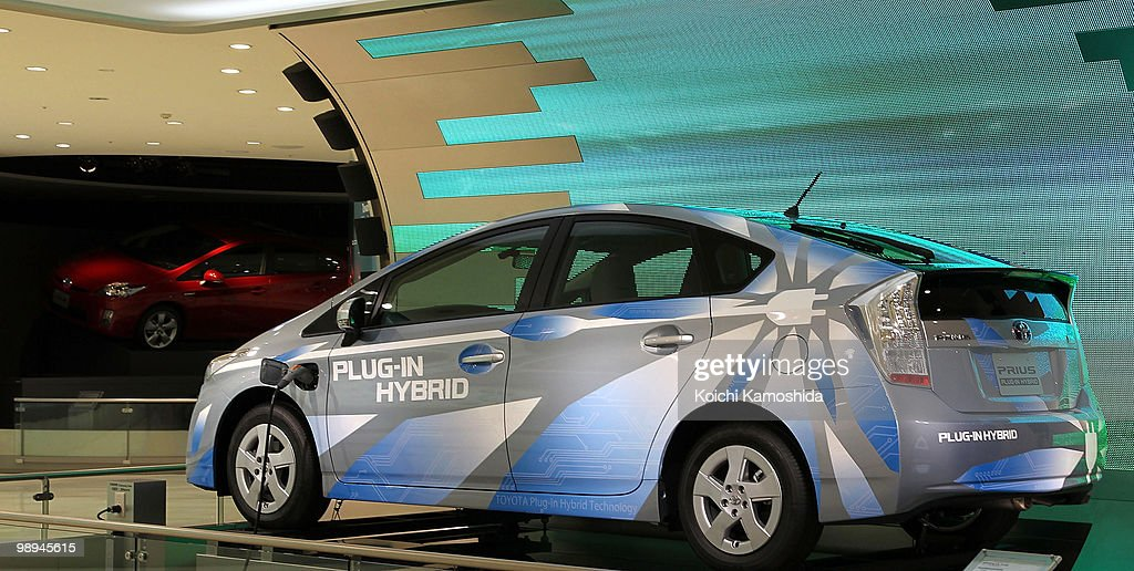 Toyota Motor Corporation's Prius plug-in hybrid concept car sits on display during the joint press conference at TMC's headquarters on May 10, 2010 in Toyota, Japan.