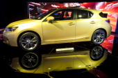 Toyota Motor Corp's Lexus CT200h hybrid car sits on display during the North American International Auto Show in Detroit Michigan US on Wednesday Jan...