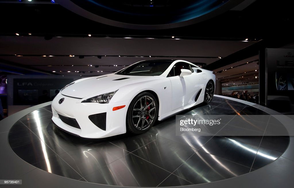 Toyota Motor Corp.'s Lexus LFA sports car sits on display during day two of the 2010 North American International Auto Show in Detroit, Michigan, U.S., on Tuesday, Jan. 12, 2010. The 2010 Detroit auto show runs through January 24 and features 60 new vehicle premieres. Photographer: Daniel Acker/Bloomberg via Getty Images