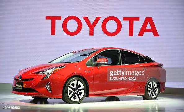 Toyota Motor displays the company's next generation hybrid vehicle Prius during a press preview at the Tokyo Motor Show on October 28 2015 The Tokyo...
