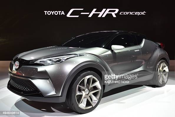 Toyota Motor displays the Toyota CHR Concept car during a press preview at the Tokyo Motor Show on October 28 2015 The Tokyo Motor Show kicked off on...
