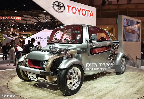 Toyota Motor displays the world premiere of its Toyota Kikai during a press preview at the Tokyo Motor Show on October 28 2015 The Tokyo Motor Show...