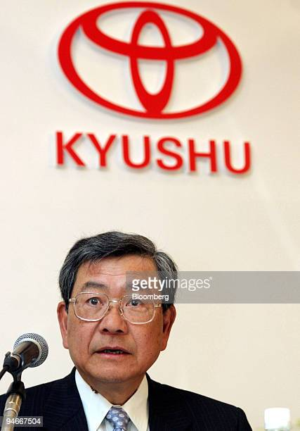 Toyota Motor Kyushu Inc President Akiyoshi Watanabe speaks to reporters at the opening conference of Toyota's new V6 engine factory in Kokura city...